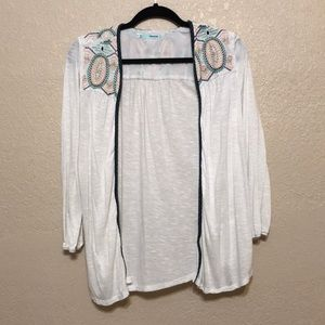 Light Cardigan with Navy Embroidered Boho Trim